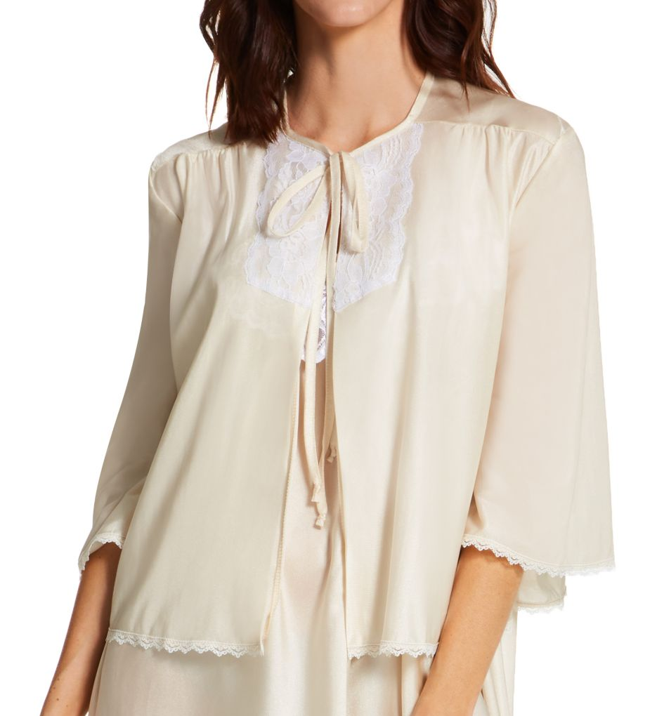 Amanda Rich Tricot Bed Jacket With Lace AR152