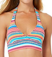 Anne Cole Triangle Stripe Marilyn Halter Bikini Swim Top 17MT105