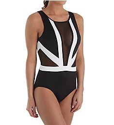 Anne Cole Hot Mesh Colorblock Plunge One Piece Swimsuit 18Mo079