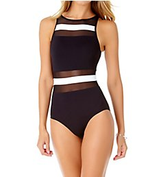 Anne Cole Colorblock Mesh Spliced One Piece Swimsuit 19MO033