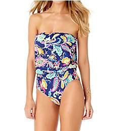 Anne Cole Paisley Pom Bandeau Blouson One Piece Swimsuit 19MO097