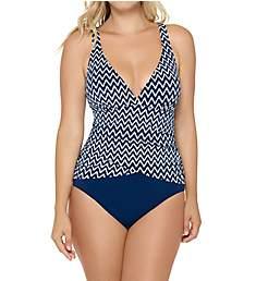 Christina Azurra Stripe D-Cup V-Neck One Piece Swimsuit CC5119D