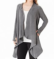 Cuddl Duds Fleecewear with Stretch Long Sleeve Hooded Wrap Up 8019665