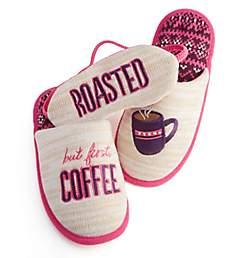 Dearfoams But First Coffee Memory Foam Slipper & Eye Mask 30572CF