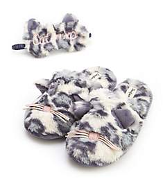 Dearfoams Cat Nap Slipper & Eye Mask Set 30572CN