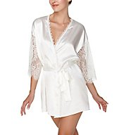 Flora Nikrooz Cora Charmeuse Wrap with Lace Sleeves T80580