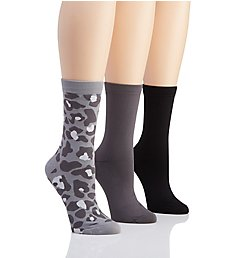 H Halston Pattern Microfiber Nylon Crew Sock - 3 Pack HTFS431