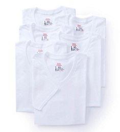 Hanes Premium Cotton White V-Neck T-Shirts - 6 Pack 7880W6