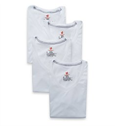 Hanes Ultimate Comfortblend V-Neck T-Shirts - 4 Pack UBT2W4