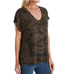 Hard Tail Camo Slouchy V-Neck Short Sleeve T-Shirt SIR01CAMO