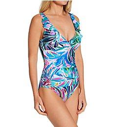 La Blanca Palm Opulence Ruffle Surplice One Piece Swimsuit LB1JJ26