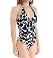La Blanca In the Shadows Side Lace Halter One Piece Swimsuit LB6HC19