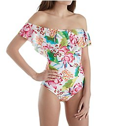 La Blanca Bora Bora Off The Shoulder One Piece Swimsuit LB8YA11