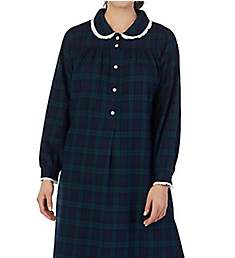 Lanz of Salzburg Long Sleeve Flannel Gown with Peter Pan Collar 5616833