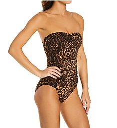 Lauren Ralph Lauren Ocelot Twist Bandeau Underwire One Piece Swimsuit 105011