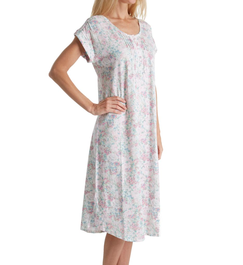 Miss Elaine Luxe Knit Short Sleeve Long Gown 503436