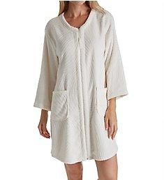 Miss Elaine Jacquard Cuddle Fleece Short Zip Robe 836547