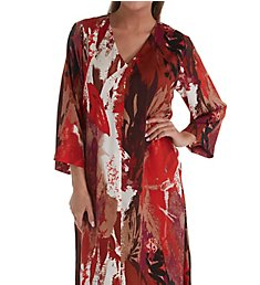 N by Natori Abstract Palm Printed Silky Satin Caftan EC0049