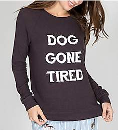 PJ Salvage Soft Peachy Dog Gone Tired Long Sleeve Top RKPELS