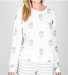 PJ Salvage Simple Skull Soft Peachy Long Sleeve Top RKSKLS