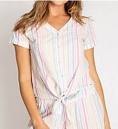 PJ Salvage Washed Ashore Striped Button Front Top ROWAT1