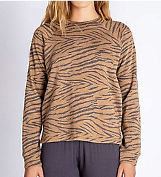 PJ Salvage Fleece Zebra Long Sleeve Top RUWOLS