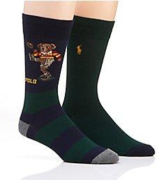 Polo Ralph Lauren Rugby Kicker Bear Stripe Socks - 2 Pack 899897PK