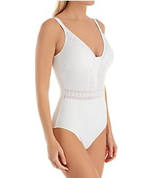 Profile by Gottex Roulette Mock V-Neck One Piece Swimsuit 2752033