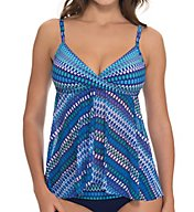 Profile by Gottex Blue Lagoon Twist Front Flyaway Swim Top 6291B36