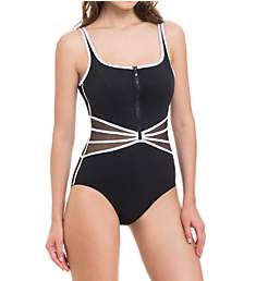 Profile by Gottex Grand Prix V-Neck Zip Front One Piece Swimsuit 8392062