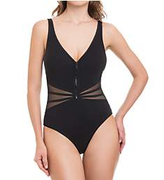 Profile by Gottex Grand Prix V-Neck Zip Front One Piece Swimsuit 8392081