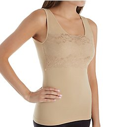 Rhonda Shear Seamless Lace Overlay Tank with Shelf Bra 4039