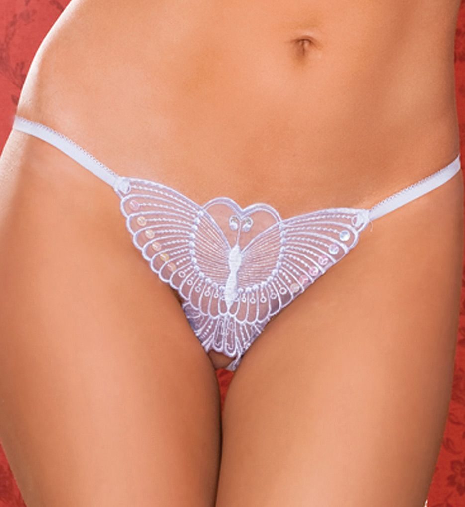 Seven 'til Midnight Madame Butterfly Embroidered Crotchless Thong STM9295
