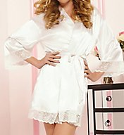 Seven 'til Midnight Enchanting Satin Lace Trim Robe STM9762