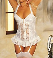 Shirley of Hollywood Satin Tapestry Flowered Jacquard Longline Bustier 9393