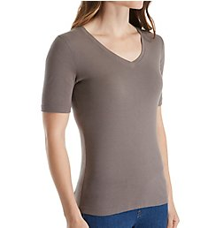 Three Dots Cotton Knit Elbow Sleeve V-Neck Tee AA1037