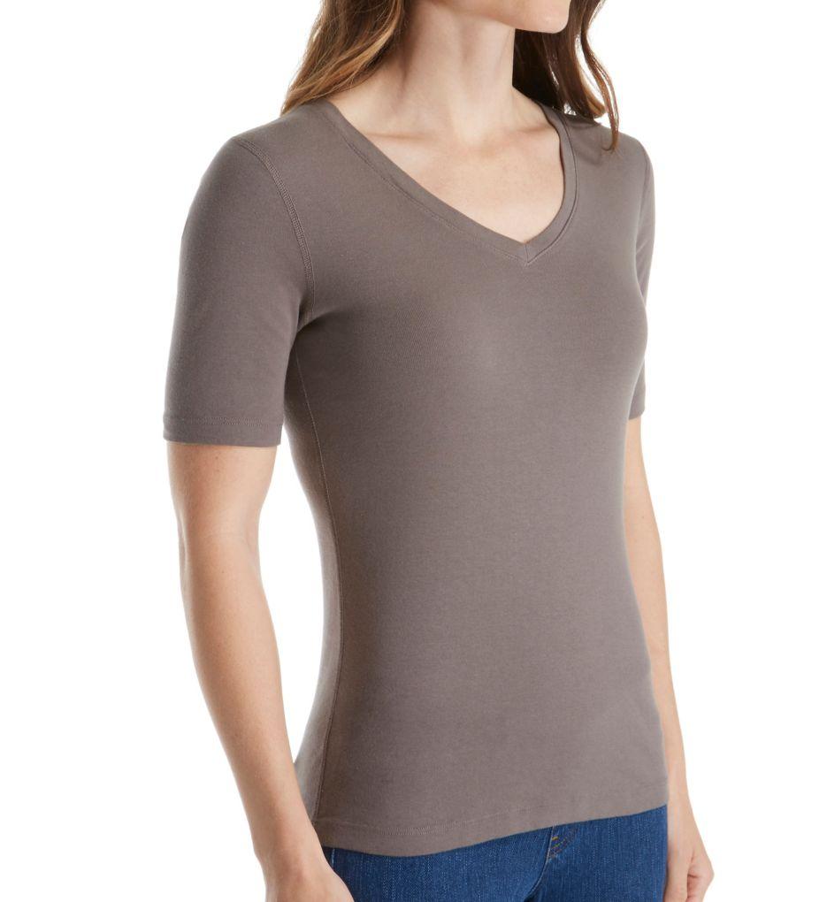 Three Dots Cotton Knit Elbow Sleeve V-Neck Tee AA1037