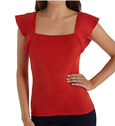 Three Dots Heritage Knit Flutter Sleeve Square Neck Top AA1545