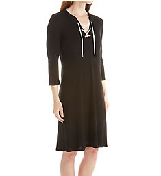 Three Dots 1x1 Cotton Modal Lace Up Dress AJ5567