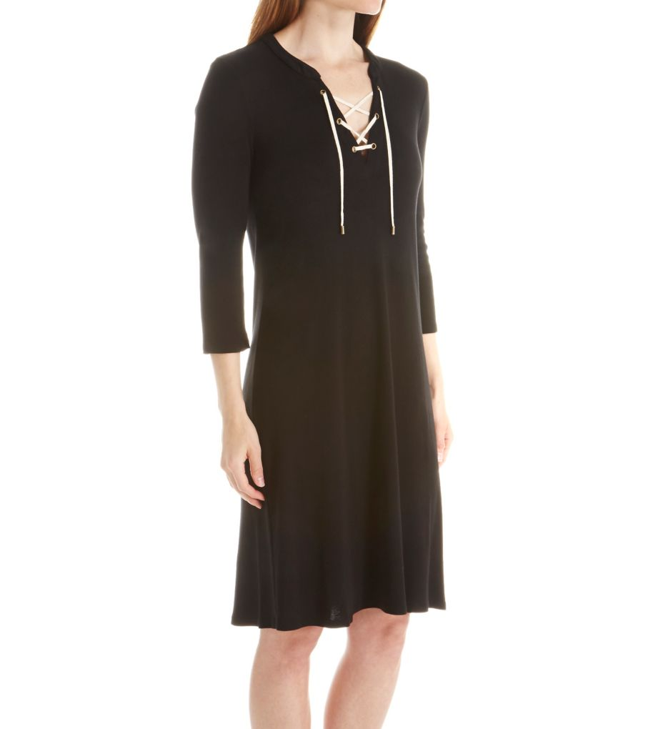 Three Dots 1x1 Cotton Modal Lace Up Dress AJ5567