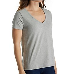 Three Dots Sanded Jersey Cotton Short Sleeve V-Neck Tee BO1438