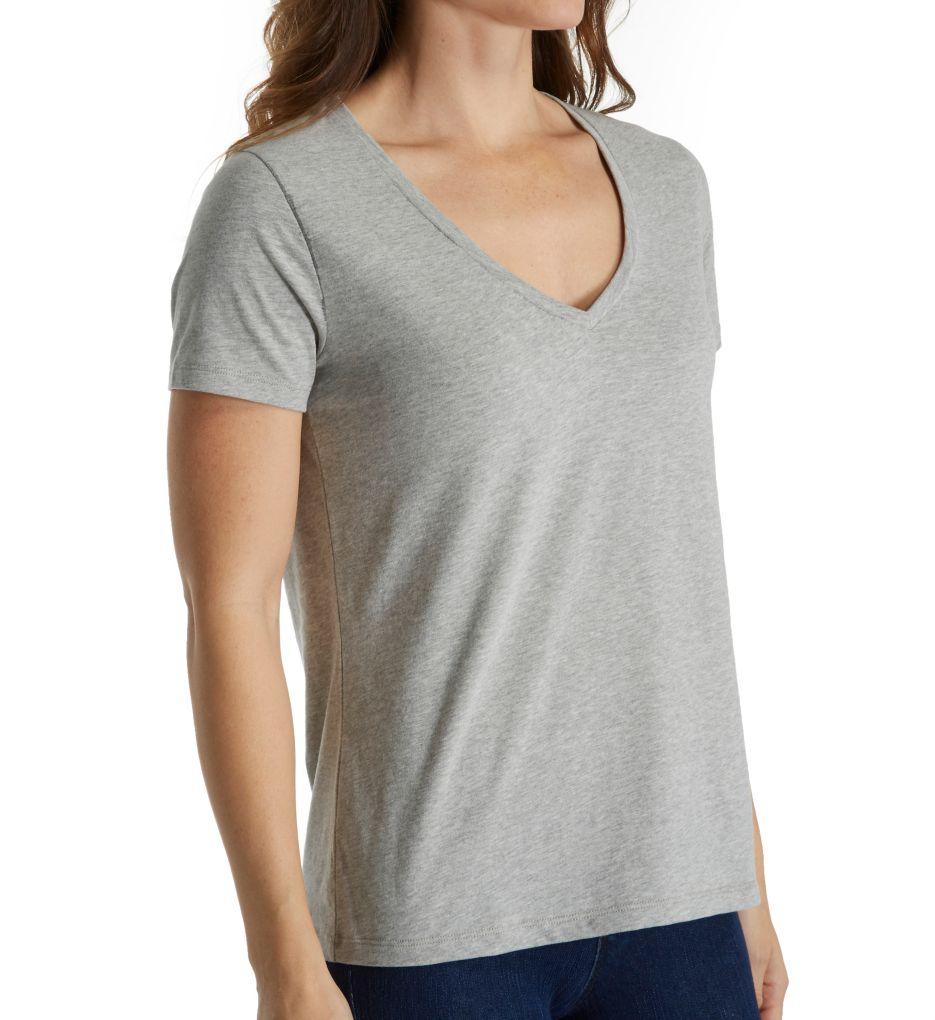 Three Dots Sanded Jersey Cotton Short Sleeve V-Neck Tee BO1438