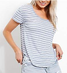 Three Dots Saguaro Stripe Crew Neck Short Sleeve T-Shirt GO1522