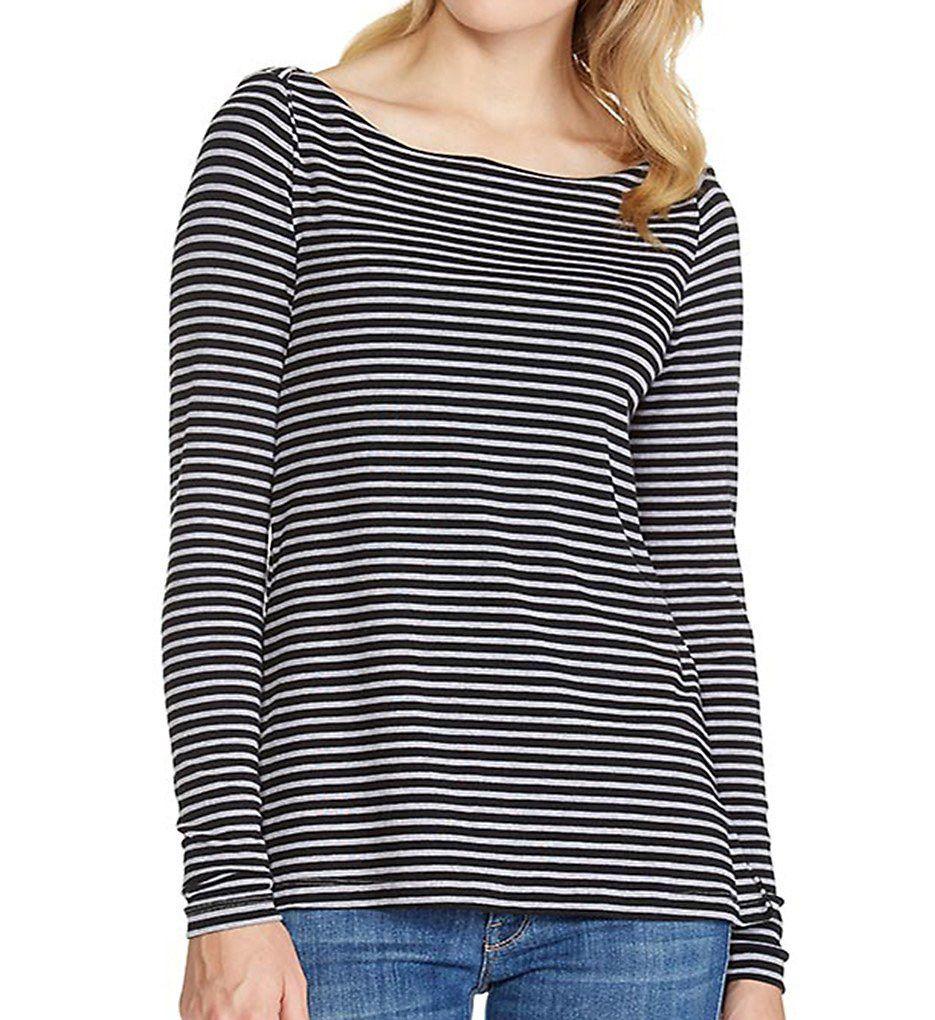 Three Dots Classic Stripe Long Sleeve Boat Neck Tee IV2343