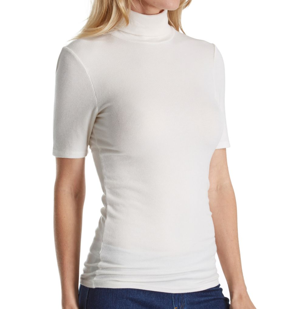 Three Dots 2X1 Viscose Short Sleeve Turtleneck Tee JY1401