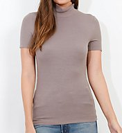 Three Dots 2X1 Viscose Short Sleeve Turtleneck Tee JY1494