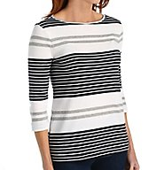 Three Dots Soho Stripe Rozana 3/4 Sleeve British Tee KC4169