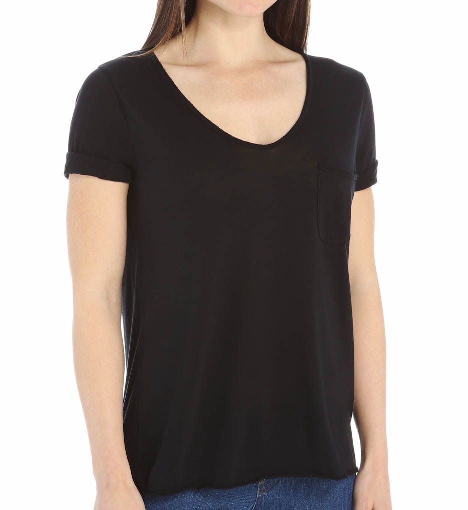 Three Dots Jersey Collette V-Neck 1 Pocket Tee KD1180