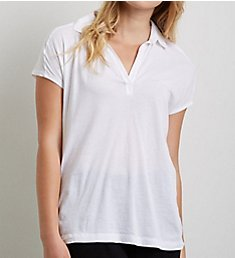 Three Dots Jersey Colette Susan Cap Sleeve Polo Tee KD1197