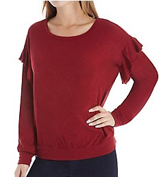 Three Dots Eco Knit Long Sleeve Top with Ruffle VJ2691